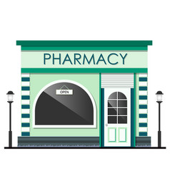 facade of pharmacy store isolated vector image vector image