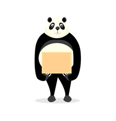 funny panda holding a sign vector image