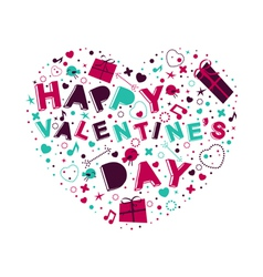 Heart with text Happy Valentines Day vector image