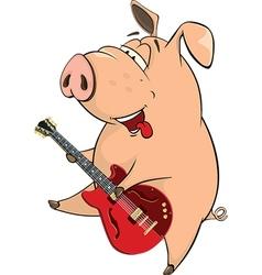 pig-musician cartoon vector image vector image
