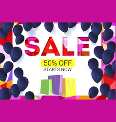 sale banner on low poly background with inflatable vector image