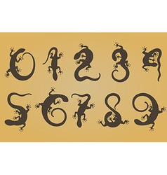 Set of ten numbers like lizards vector image