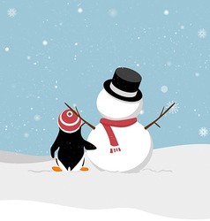 Snowman with penguin vector image