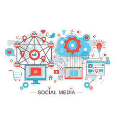 social network and social media vector image vector image