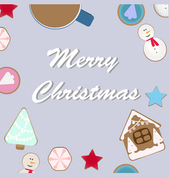 top view of christmas celebration table with hot vector image
