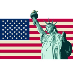 USA with Statue of Liberty Flag vector image vector image