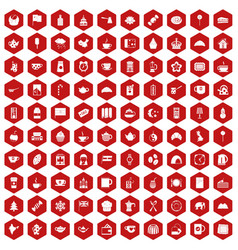 100 tea cup icons hexagon red vector