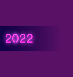 2022 neon long banner violet neon numbers vector