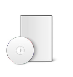 3d realistic blank white cd dvd with cover vector image