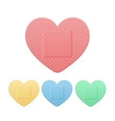 Aid Band Plaster Strip Medical Patch Heart Color vector
