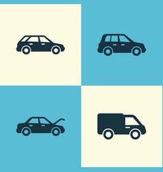 automobile icons set collection of car truck vector image