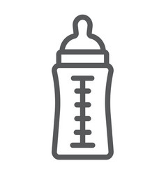 baby bottle line icon feed and milk vector image