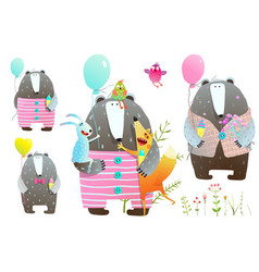 bear fox rabbit greeting card set vector image