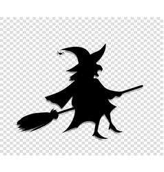 Black silhouette of witch fly on broomstick vector