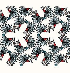 Boho flower bloom all over print seamless vector