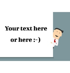 businessman pointing to a blank message board vector image