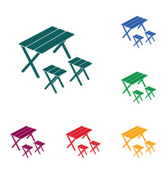 camping table and stool icon vector image