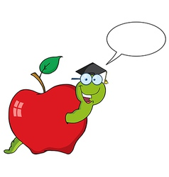 Cartoon worm graduate vector image
