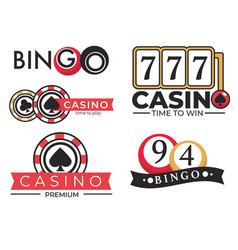 Casino gambling club and bingo game isolated icons vector