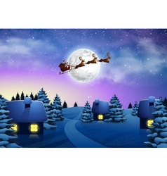 Christmas houses in snowfall night full moon vector image