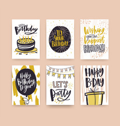 collection of birthday greeting card templates vector image