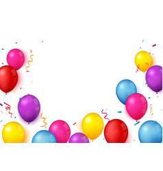 colorful confetti celebration banner with balloons vector image
