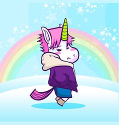 cool unicorn with jacket vector image