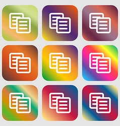 Copy icon Nine buttons with bright gradients for vector