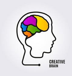 creative concept one line forming human brain vector image
