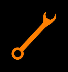 crossed wrenches sign orange icon on black vector image