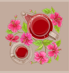 cup of hibiscus tea and teapot vector image
