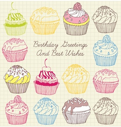 Cupcakes fruits pattern vector