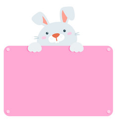 cute rabbit hold blank board vector image