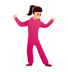 Dancing girl in pink pajama icon cartoon style vector