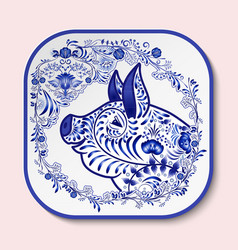 Decorative square plate with blue patterned head vector