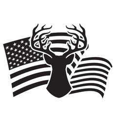 deer head and usa flag hunting design vector image