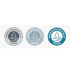 Dermatologically tested hand and drop icon logo vector