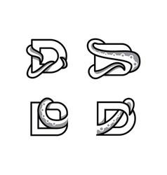 Design logo d letter initial for octopus logo vector