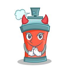 Devil aerosol spray can character cartoon vector