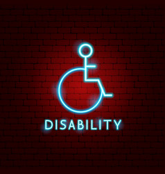 Disability neon label vector