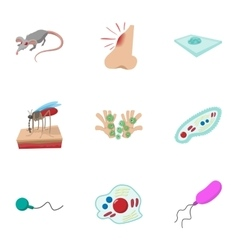 Disease malaria icons set cartoon style vector image