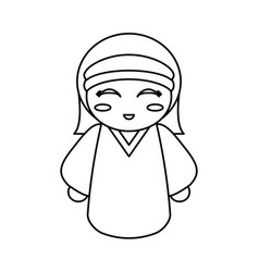Doll kokeshi decoration outline vector
