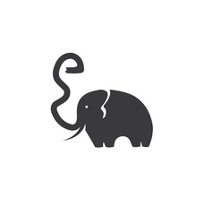 Elephant with trunk in the form of a letter e vector