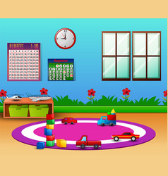 Empty kindergarten room with furniture and toys fo vector