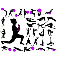 Exercise collection silhouettes vs vector