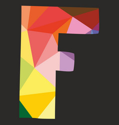 F low poly colorful alphabet letter isolated vector