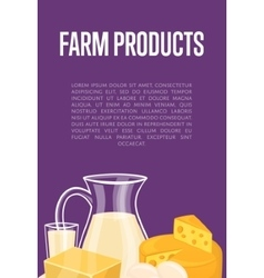 Farm products banner with dairy composition vector image