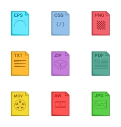 File extension icons set cartoon style vector