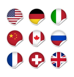 Flag stickers set 1 vector image