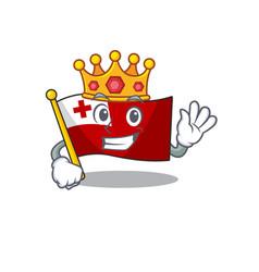 Flag tonga scroll a stylized king on cartoon vector